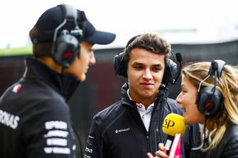 George Russell, Mercedes AMG with Lando Norris, McLaren