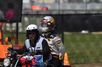 Race retiree Daniel Ricciardo, Red Bull Racing on a scooter