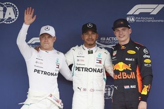 Top three Qualifiers, Valtteri Bottas, Mercedes AMG F1 , pole man Lewis Hamilton, Mercedes AMG F1, and third placed Max Verstappen, Red Bull Racing