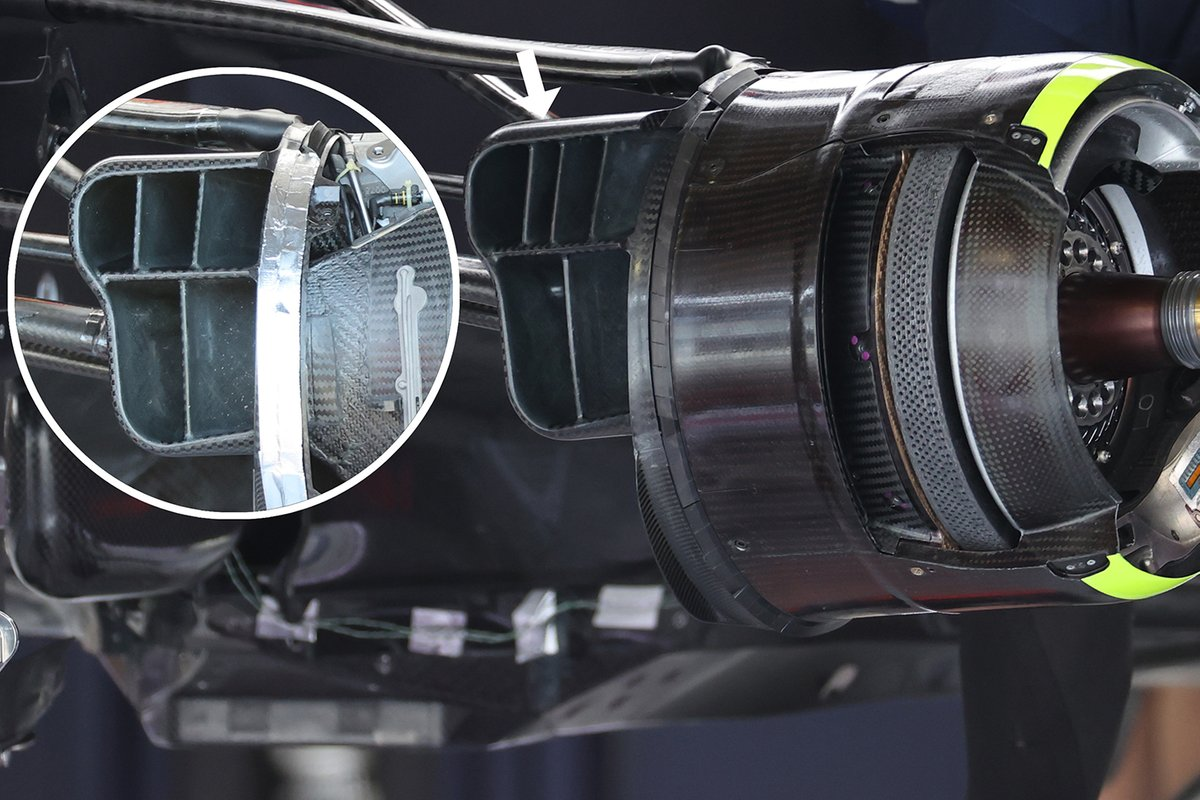 Detail van de brake ducts van de Red Bull Racing RB16B