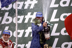 Podium: Race winner Jacques Laffite, Ligier JS17-Matra and second place John Watson, McLaren MP4/1-Ford Cosworth