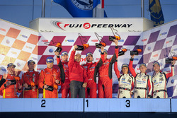 Podium GT: winners #5 DH Racing Ferrari 488 GT3: Stéphane Lemeret, Michele Rugolo, Mattieu Vaxiviere, second place #37 Team BBT Ferrari 488 GT3: Anthony Liu, Davide Rizzo, Alessandro Pier Guidi, third place #91 Team AAI BMW Z4 GT3: Junsan Chen, Philipp Eng, Ollie Millroy