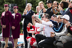 Alejandro Agag, Formula E CEO, Alain Prost and Sébastien Buemi, Renault e.Dams, celebrate