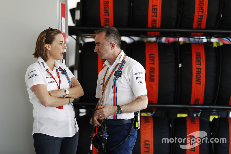 Claire Williams, Deputy Team Principal, Williams, talks to Paddy Lowe, Williams Formula 1