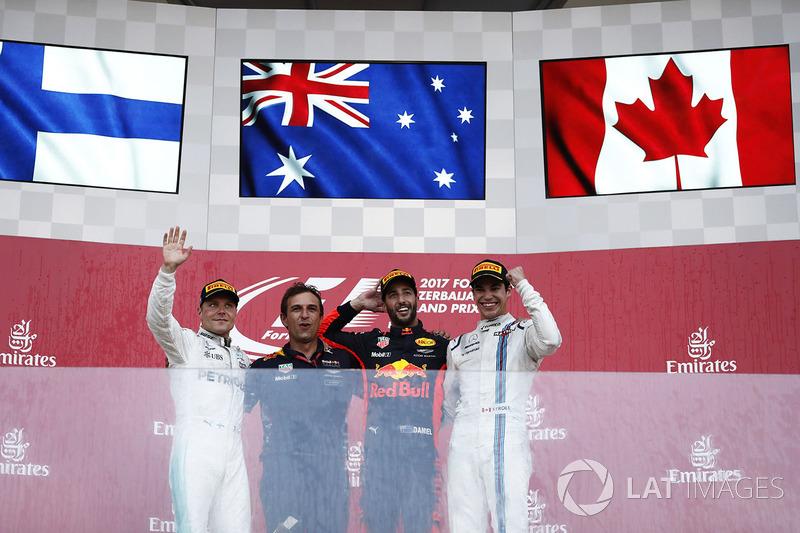 Podium GP Azerbaijan 2017: Daniel Ricciardo, Valtteri Bottas, dan Lance Stroll