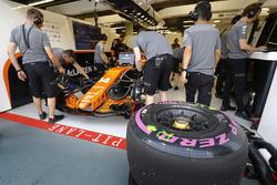 Tyres ready for Fernando Alonso, McLaren MCL32, outside the McLaren garage