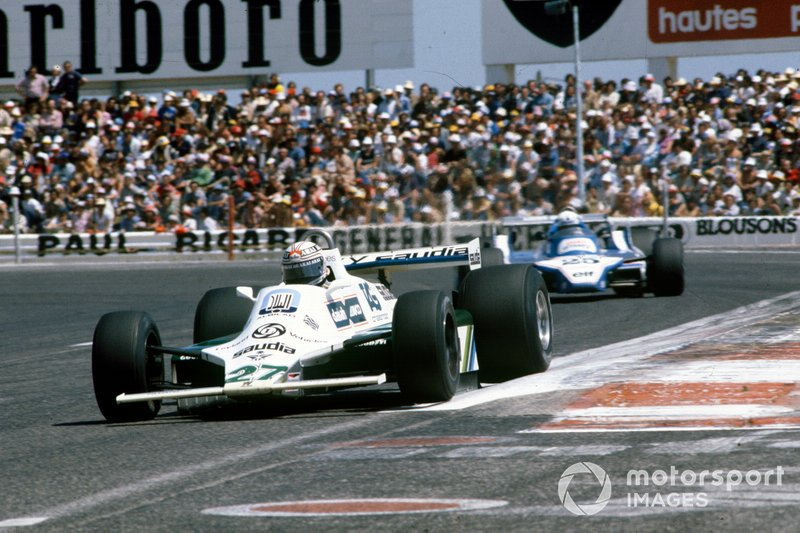 Alan Jones met de Williams van 1980 op Paul Ricard.