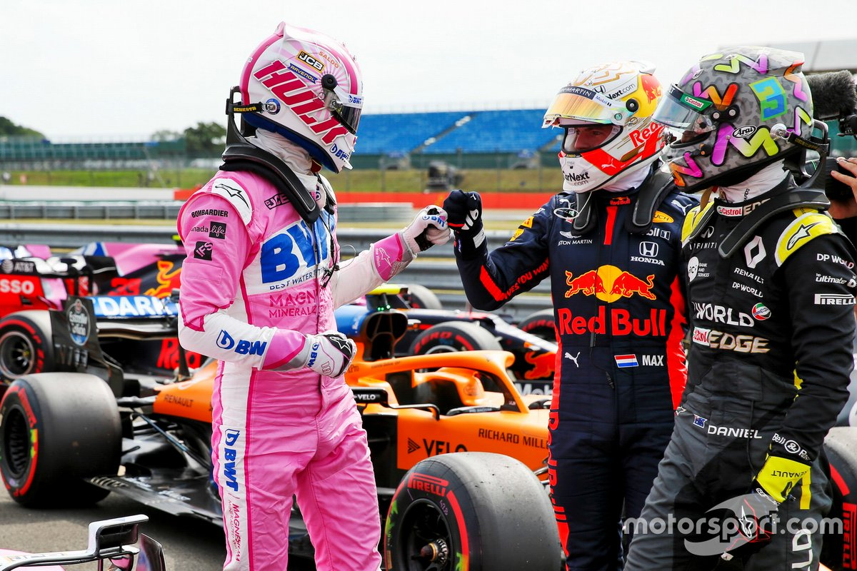 Nico Hulkenberg, Racing Point celebrates in Parc Ferme with Max Verstappen, Red Bull Racing and Daniel Ricciardo, Renault F1