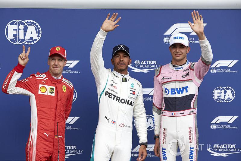 Sebastian Vettel, Ferrari, Lewis Hamilton, Mercedes AMG F1, y Esteban Ocon, Racing Point Force India