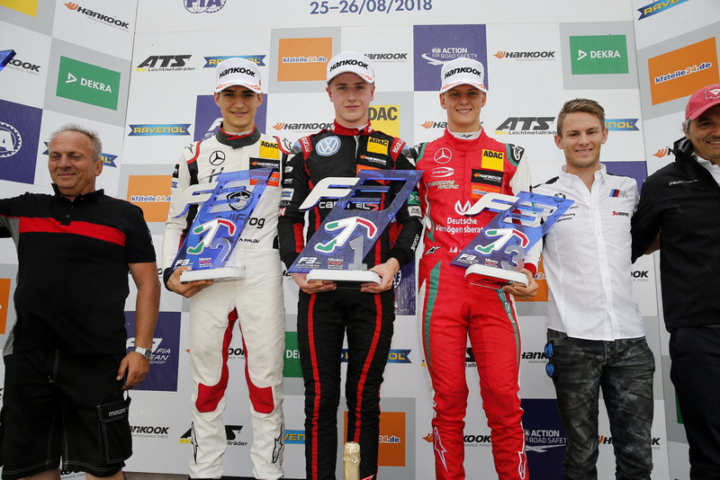 Podium: Race winner Jüri Vips, Motopark Dallara F317 - Volkswagen, second place Alex Palou, Hitech Bullfrog GP Dallara F317 - Mercedes-Benz, third place Mick Schumacher, PREMA Theodore Racing Dallara F317 - Mercedes-Benz and Marco Wittmann, BMW Team RMG