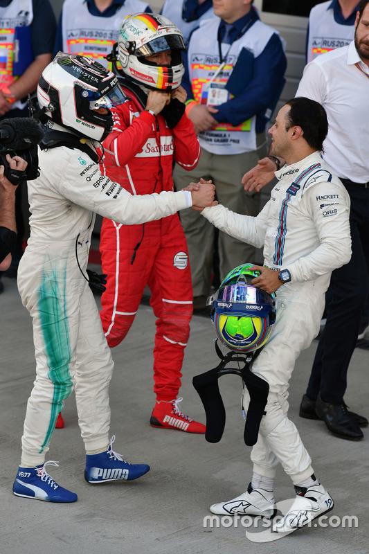 Valtteri Bottas, Mercedes AMG F1 and Felipe Massa, Williams