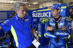 Shinichi Sahara, Team Suzuki MotoGP  líder de proyecto, Alex Rins, Team Suzuki MotoGP