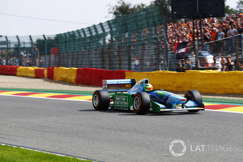 Mick Schumacher drives the Benetton B194 driven by his father Michael Schumacher in the 1994 World Championships