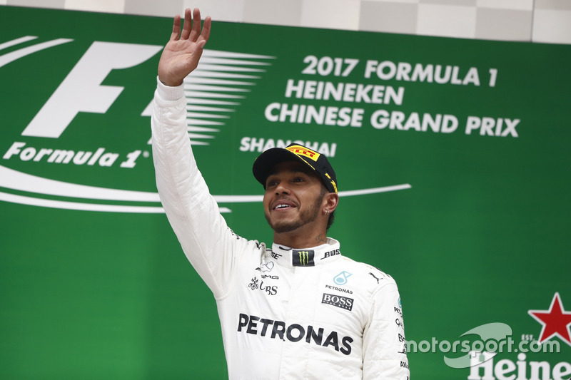 Lewis Hamilton, Mercedes AMG, celebrates on the podium