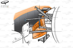 Arrows A23 front suspension and surrounding aero devices
