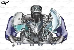 Williams FW28  adapted steering wheel for use by Alex Zanardi in post season test