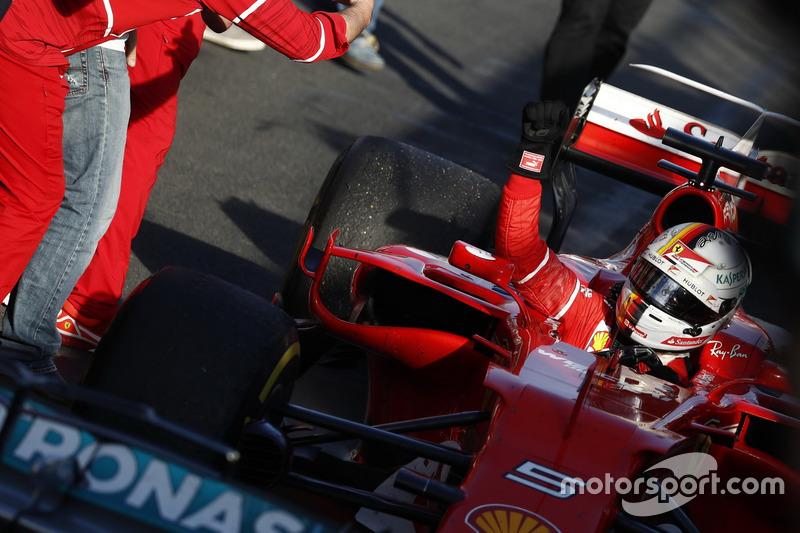 Sebastian Vettel, Ferrari SF70H, 1st Position, celebrates on arrival in Parc Ferme