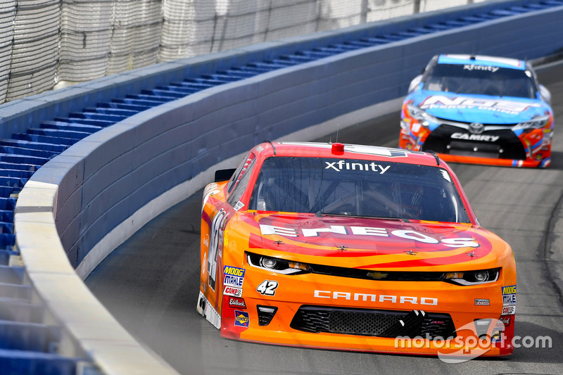 Kyle Larson, Chip Ganassi Racing, Chevrolet; Kyle Busch, Joe Gibbs Racing, Toyota