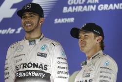 Podium: race winner Lewis Hamilton, Mercedes AMG and third place Nico Rosberg, Mercedes AMG