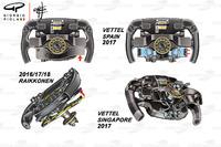 Порівняння керма на Ferrari SF70H для Феттеля та Райкконена