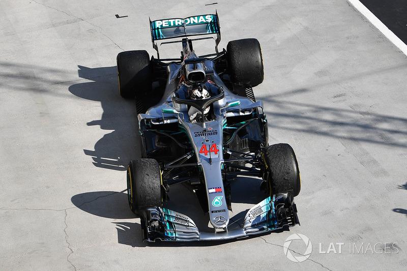 Lewis Hamilton, Mercedes-AMG F1 W09 en parc ferme