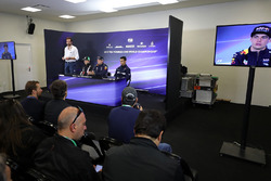 Matteo Bonciani, FIA Media Delegate, Sergio Perez, Sahara Force India, Max Verstappen, Red Bull Racing and Pascal Wehrlein, Sauber in the Press Conference