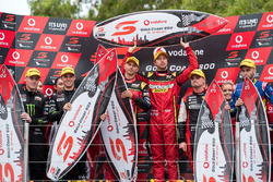 Podium: Race winners Chaz Mostert, Steven Owen, Rod Nash Racing Ford and second place Cameron Waters, Richie Stanaway, Prodrive Racing Australia, third place Andre Heimgartner, Tim Slade, Brad Jones Racing Holden