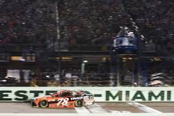 2017 champion Martin Truex Jr., Furniture Row Racing Toyota takes the checkered flag to win