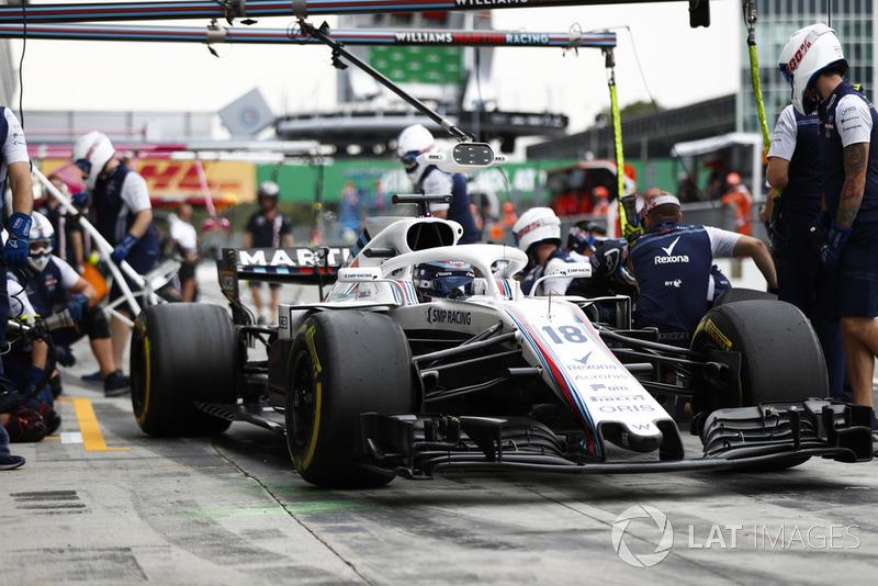 Lance Stroll, Williams FW41, pits