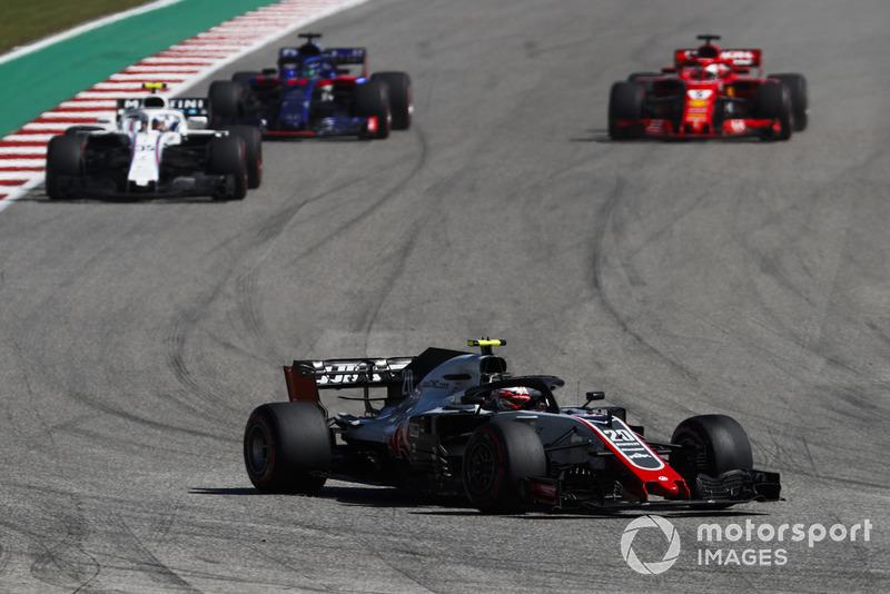 Kevin Magnussen, Haas F1 Team VF-18, Sergey Sirotkin, Williams FW41, Brendon Hartley, Toro Rosso STR13, y Sebastian Vettel, Ferrari SF71H