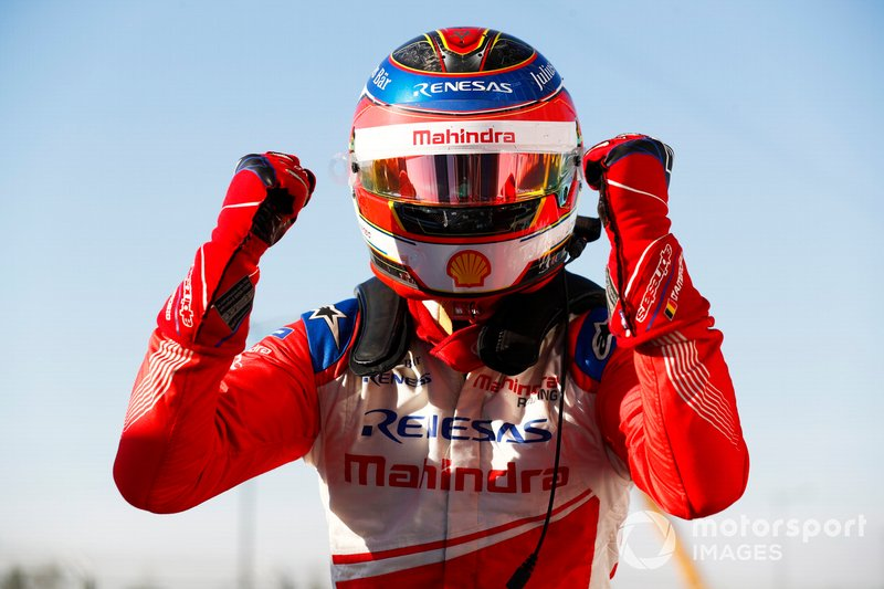 Jérôme d'Ambrosio, Mahindra Racing, M5 Electro, celebrates as he climbs from his car in Parc Ferme after winning the race