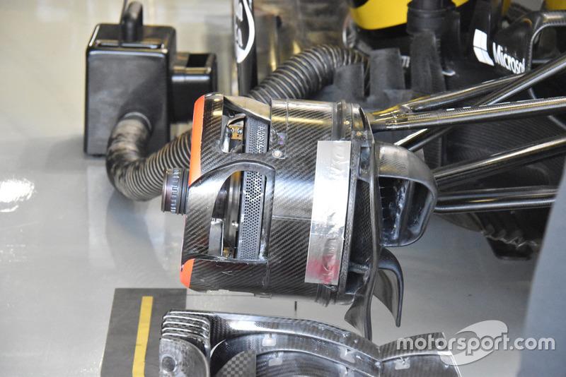 Detalle del freno frontal del Renault Sport F1 Team R.S. 18