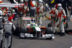 Giancarlo Fisichella, Force India VJM02 Mercedes, heads back out after a stop