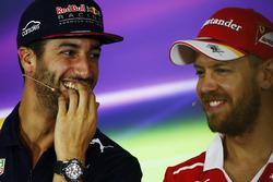 Daniel Ricciardo, Red Bull Racing, and Sebastian Vettel, Ferrari, in the Thursday press conference
