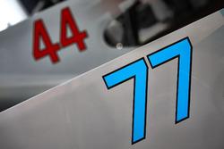 Numeri di gara sulle monoposto di Valtteri Bottas, Mercedes AMG F1 W08, Lewis Hamilton, Mercedes AMG F1 W08