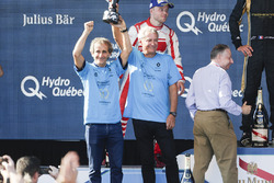 Alain Prost and Jean Paul Driot celebrate on the podium