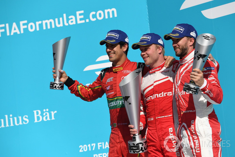 1. Felix Rosenqvist, Mahindra Racing; 2. Lucas di Grassi, ABT Schaeffler Audi Sport; 3. Nick Heidfel