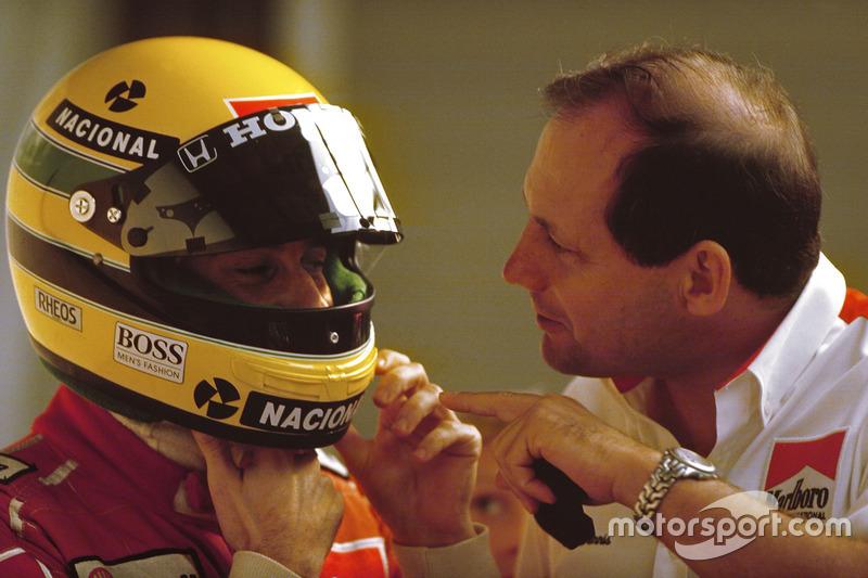 Ayrton Senna, McLaren Honda, et Ron Dennis, directeur McLaren-Honda