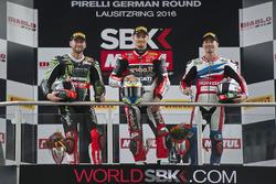 Podium: winner Chaz Davies, Ducati Team, second place Tom Sykes, Kawasaki Racing, third place Nicky