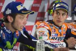 Second place Valentino Rossi, Yamaha Factory Racing, winner Marc Marquez, Repsol Honda Team