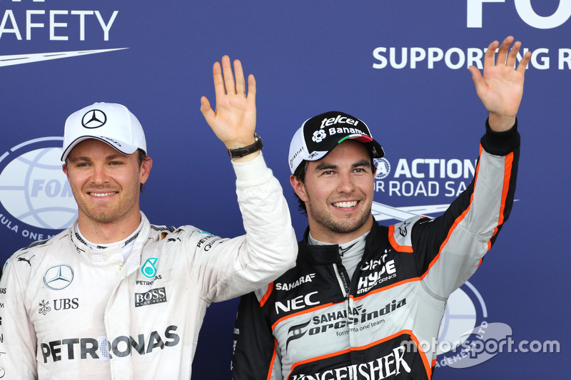 Nico Rosberg, Mercedes AMG F1 Team and Sergio Perez, Sahara Force India