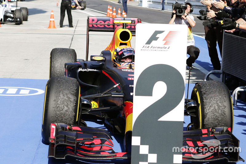 Second placed Max Verstappen, Red Bull Racing arrives in parc ferme