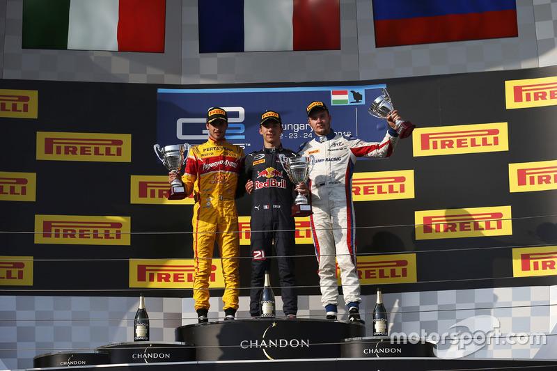 Podium: Winner Pierre Gasly, PREMA, Racing; second place Antonio Giovinazzi, PREMA Racing; third place Sergey Sirotkin, ART Grand Prix