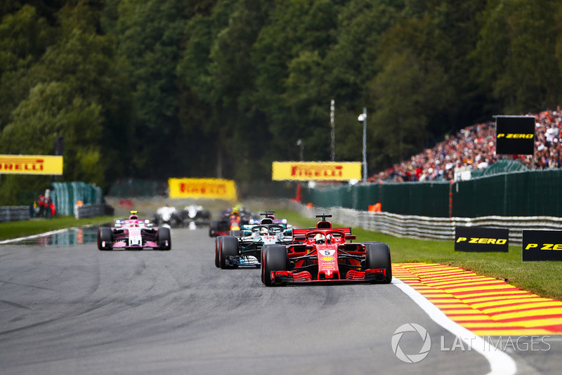 Sebastian Vettel, Ferrari SF71H, Lewis Hamilton, Mercedes AMG F1 W09, Sergio Perez, Racing Point Force India VJM11, Esteban Ocon, Racing Point Force India VJM11 Sam Bloxham