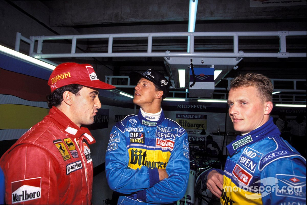 Jean Alesi, Michael Schumacher, and Johnny Herbert