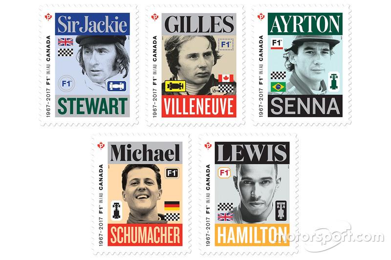 Марки с изображениями Джеки Стюарта, Жиля Вильнёва, Айртона Сенны, Михаэля Шумахера и Льюиса Хэмилтона
