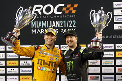 Podium Nations cup, second place Kyle Busch and Kurt Busch, Team USA NASCAR