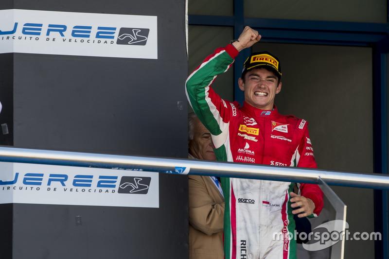 Charles Leclerc finalmente conseguiu confirmar o título antecipado da F2 ao vencer a corrida 1 em Jerez. Artem Markelov  levou a melhor no domingo.