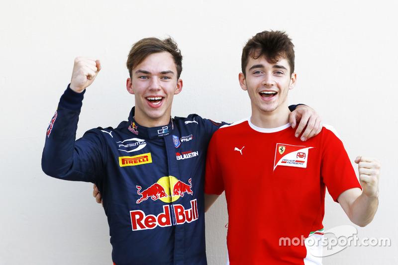 Les Champions GP2 et GP3: Pierre Gasly, PREMA Racing et Charles Leclerc, ART Grand Prix