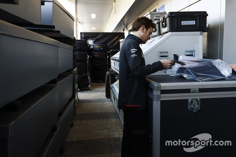 A McLaren team member at work